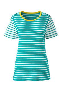 Le T-Shirt Multi-Rayures à Manches Courtes, Femme