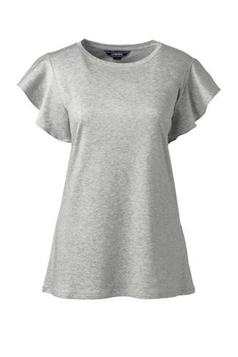 Women's Cotton/Lyocell Ruffle Sleeve Top