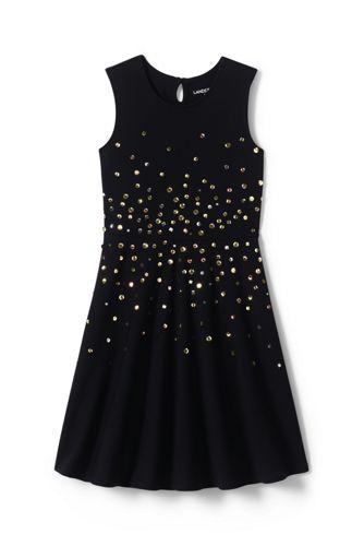 Ärmelloses Ponté-Kleid mit Pailletten für kleine Mädchen