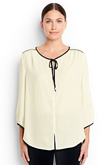 Women's 3-Quarter Sleeve Contrast Binding Blouse