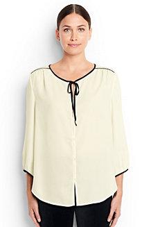 Crêpe-Bluse mit Kontrast-Paspelierung für Damen