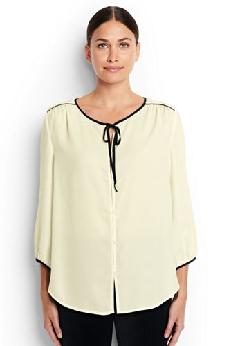 Women's Regular 3-Quarter Sleeve Contrast Binding Blouse
