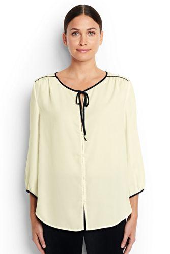 Women's Regular 3-Quarter Sleeve Contrast Binding Blouse