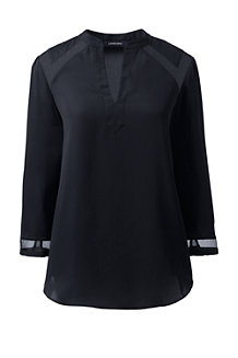 Women's 3-Quarter Sleeve Yoke Inset Blouse