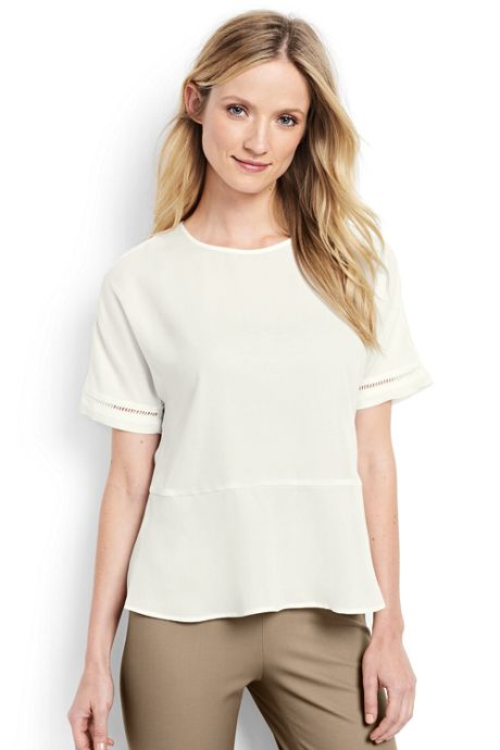Women's Petite Short Sleeve Peplum Top