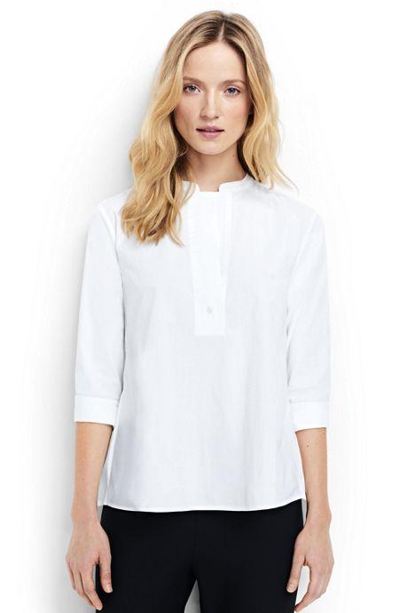 Women's Petite 3/4 Sleeve Poplin Easy Top