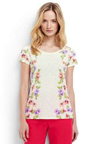 Women's Regular Short Sleeve Floral T-shirt