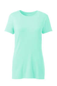 Women's Petite Lightweight Fitted Short Sleeve Crewneck T-Shirt