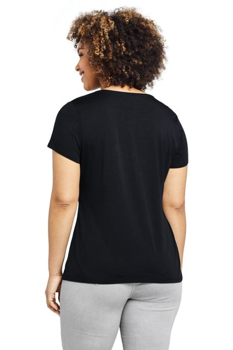 Women's Plus Size Shaped Layering Crewneck Short Sleeve T-shirt