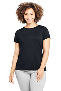 Women's Plus Size Lightweight Fitted Short Sleeve Crewneck T-Shirt, Front