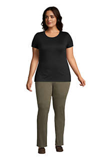 Women's Plus Size Lightweight Fitted Short Sleeve Crewneck T-Shirt, alternative image