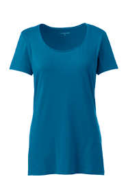 Women's Plus Size Lightweight Fitted Short Sleeve Scoop Neck T-Shirt