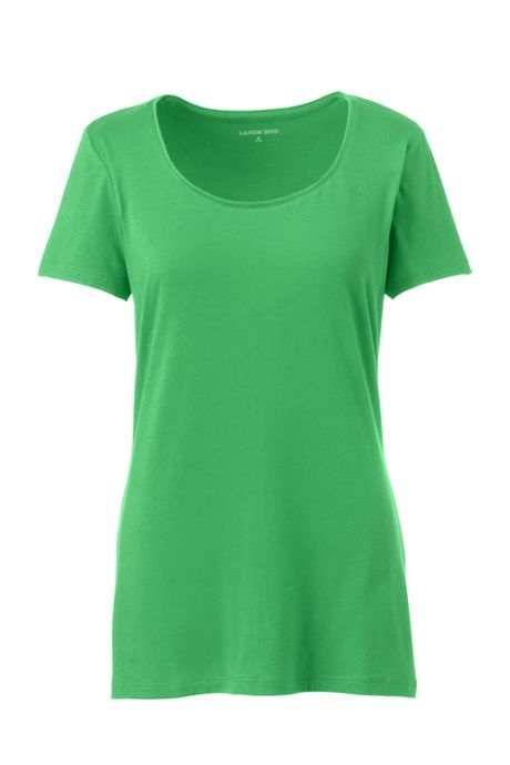 Women's Petite Lightweight Fitted Short Sleeve Scoop Neck T-Shirt