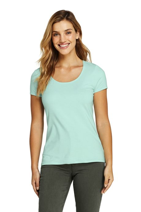 Women's Lightweight Fitted Short Sleeve Scoop Neck T-Shirt