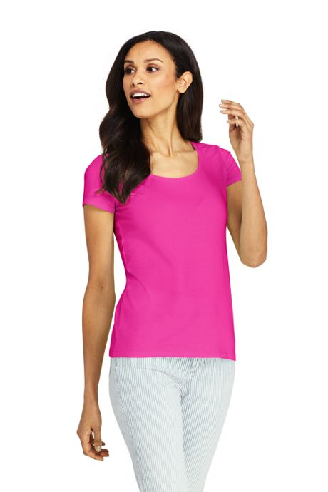 Women's Short Sleeve Shaped Layering Scoop Neck T-Shirt