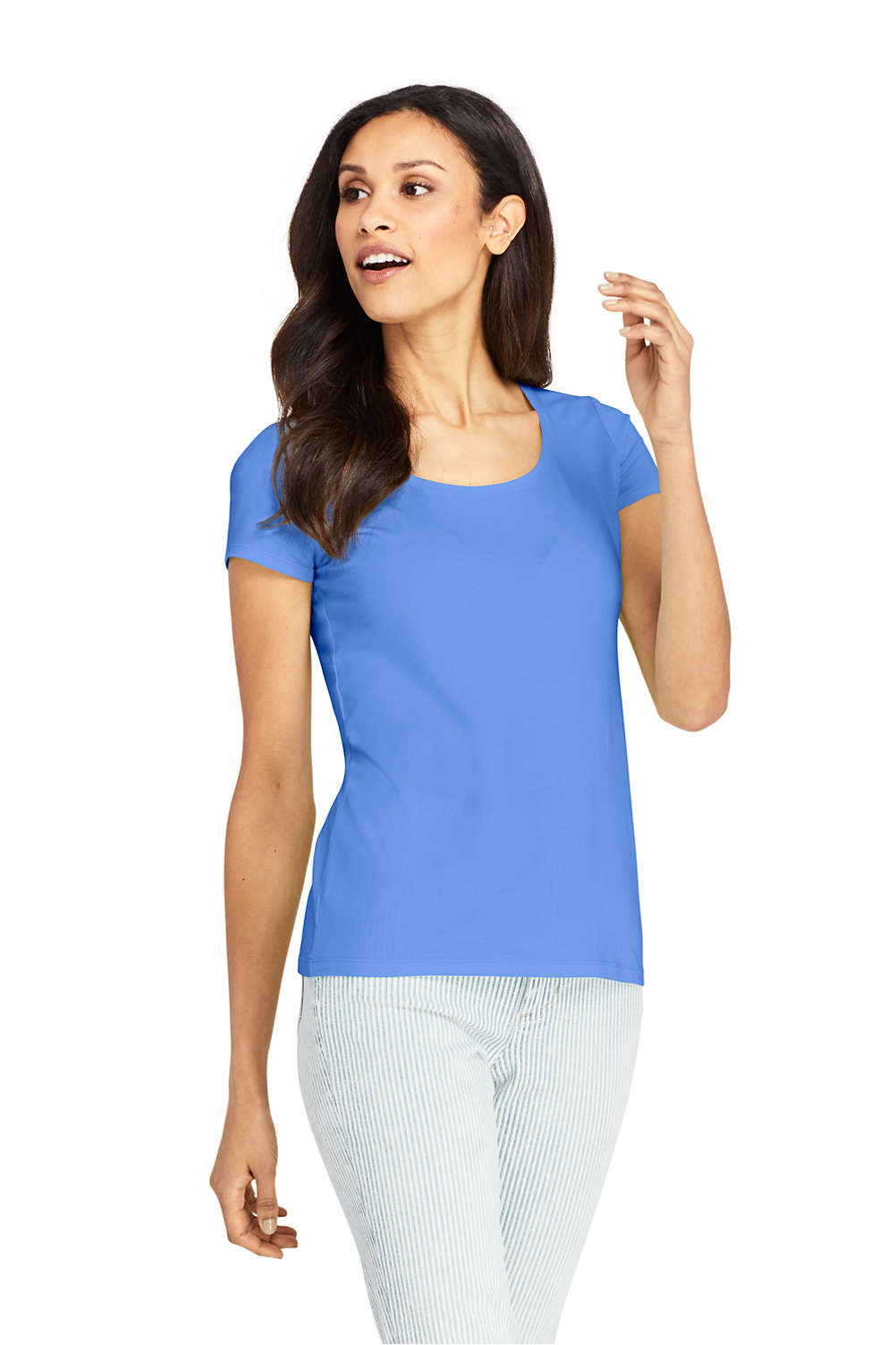 1d4f3d76168 Women's Shaped Layering Scoop Neck Short Sleeve T-Shirt from Lands' End