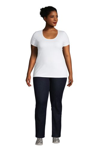 Women's Plus Size Lightweight Fitted Short Sleeve Scoop Neck T-Shirt