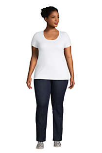 Women's Plus Size Lightweight Fitted Short Sleeve Scoop Neck T-Shirt, Unknown
