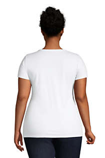 Women's Plus Size Lightweight Fitted Short Sleeve Scoop Neck T-Shirt, Back