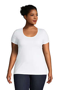Women's Plus Size Lightweight Fitted Short Sleeve Scoop Neck T-Shirt, Front