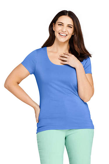 e3fa78d20 Women's Plus Size Shaped Layering Scoop Neck Short Sleeve T-Shirt ...