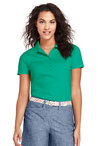 Womens Petite Short Sleeve Contrast Collar Pique Polo - 16-18 - WHITE Lands End