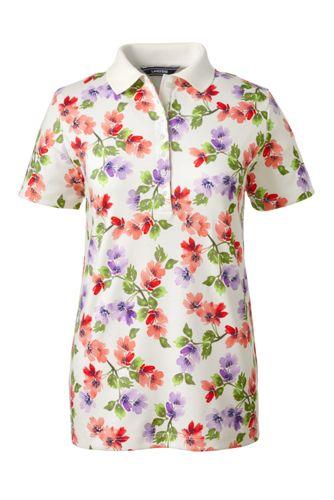 Gemustertes Pima-Poloshirt Kurzarm für Damen