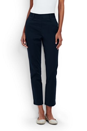 Lands' End Women's Mid Rise Stretch Chino Cropped Trousers - 16, Blue