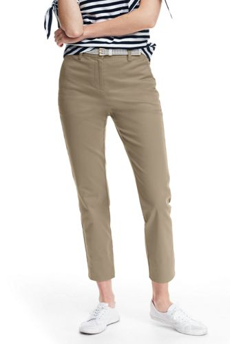 Lands' End Women's Mid Rise Stretch Chino Cropped Trousers - 10, Tan