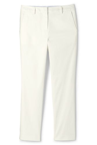 Lands' End Women's Mid Rise Stretch Chino Cropped Trousers - 8, White
