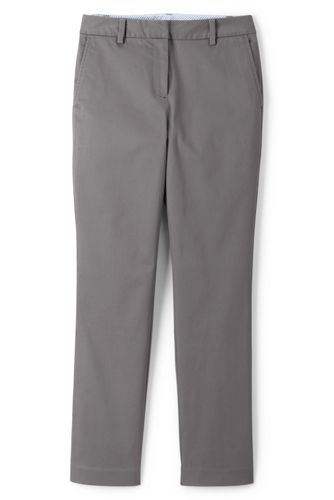Lands' End Women's Mid Rise Stretch Chino Cropped Trousers - 12, Grey