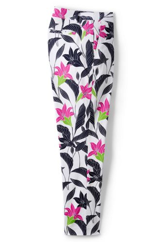 Women's Petite Print Chino Crop Trousers