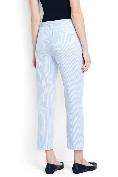 Women's Mid Rise Seersucker Crop Pants