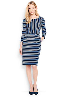 Women's Engineered Stripe Ponte Jersey Darted Dress
