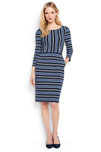 Women's Regular Engineered Stripe Ponte Jersey Darted Dress