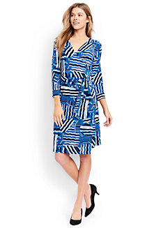 Women's Regular Three-quarter Sleeve Wrap and Tie Jersey Dress