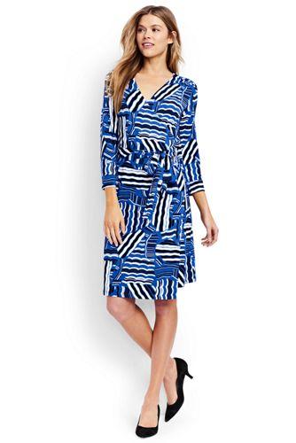 Women's Regular Three-quarter Sleeve Wrap and Tie Jersey Dress
