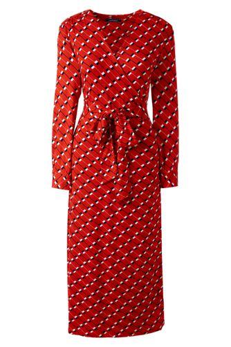 Gemustertes Wickelkleid mit Bindegürtel für Damen