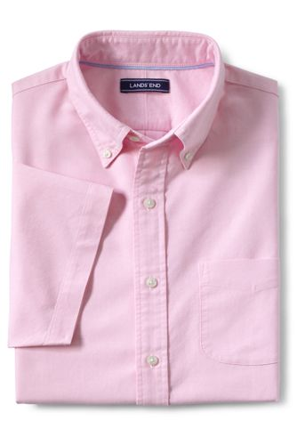 Men's Short Sleeve Solid Sail Rigger Oxford Shirt by Lands' End