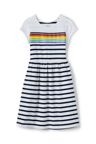 Toddler Girls Short Sleeve Gathered Waist Graphic Knit Dress