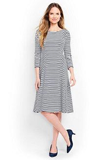 Gestreiftes ausgestelltes Ponté-Kleid mit 3/4-Ärmeln für Damen