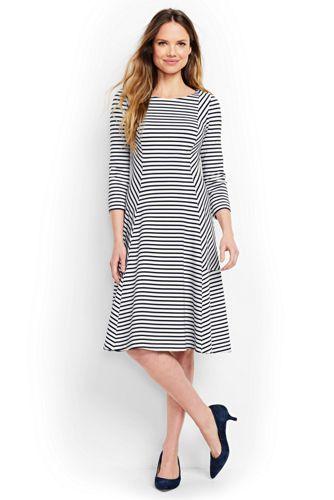 Women's Regular Stripe Seamed Ponte Jersey Flounce Hem Dress