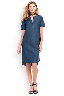 Women's Lyocell Chambray Tunic Dress