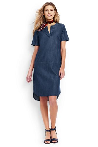 La Robe Housse en Chambray Stretch, Femme Stature Standard