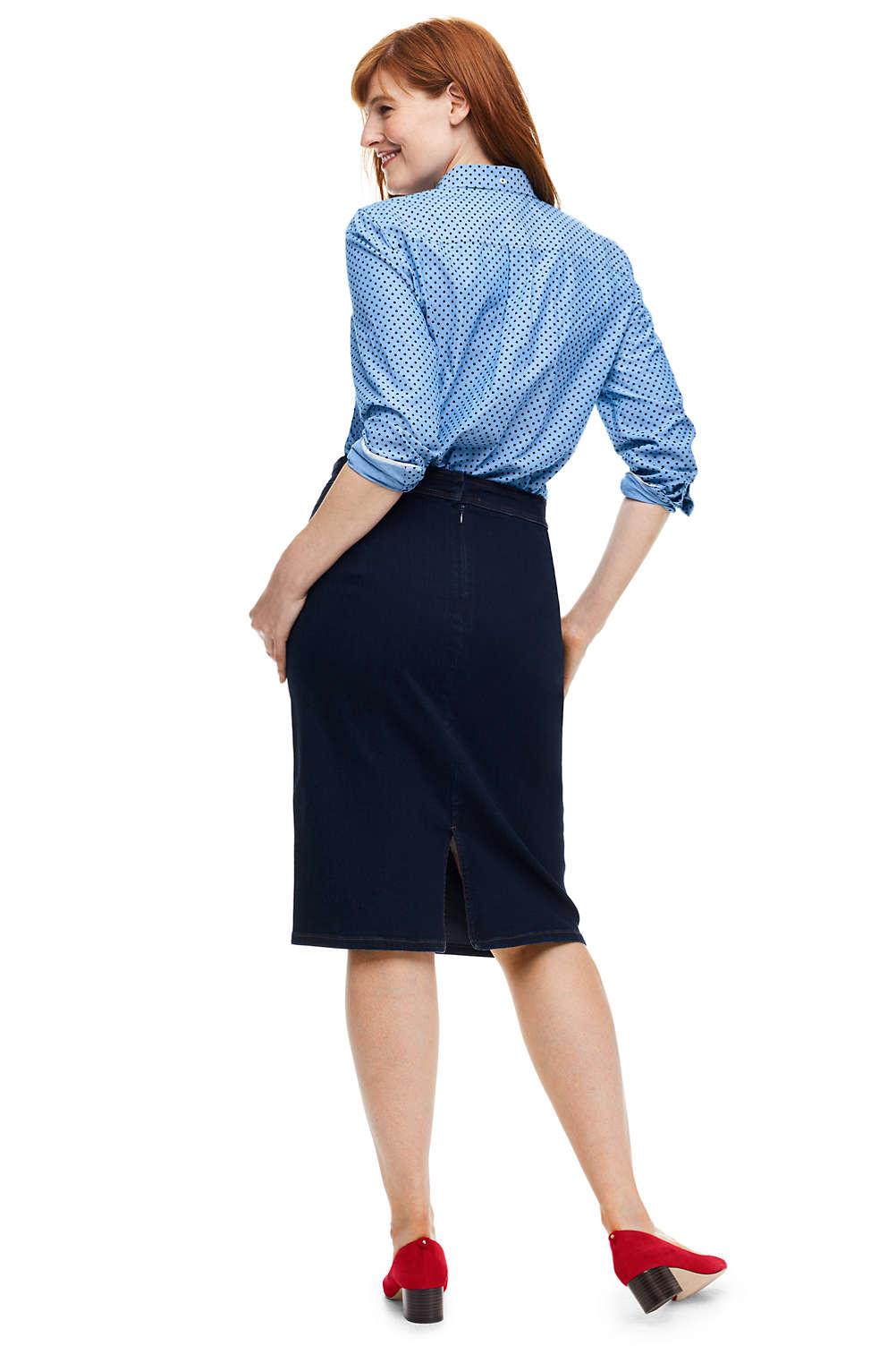 983cbb074d4ee Women s Plus Size Jean Pencil Skirt from Lands  End