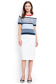 Women's Stretch White Denim Pencil Skirt
