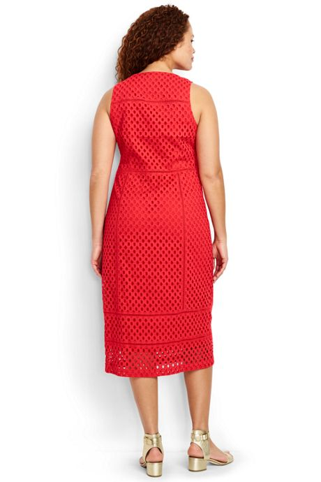Women's Plus Size Sleeveless Eyelet Mix Dress