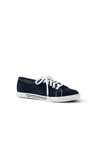 Womens Lace-up Trainers - 6.5 - WHITE Lands End