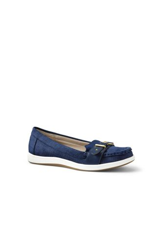 Womens Regular Buckle Boat Shoes - 4.5 - BLUE Lands End QCIOjQMd