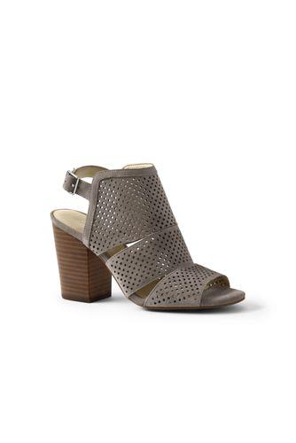 Womens Regular Block Heel Leather Sandals - 4 - BLACK Lands End Largest Supplier Sale Online Buy Cheap 100% Authentic gi0yt